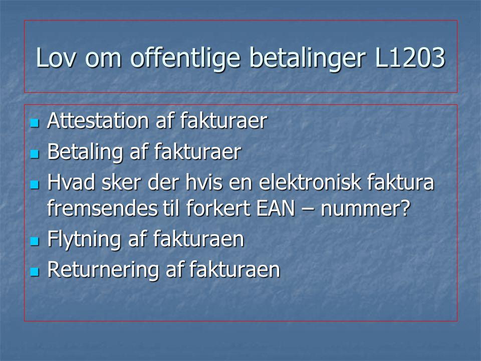 Lov om offentlige betalinger L1203 Attestation af fakturaer Attestation af fakturaer Betaling af fakturaer Betaling af fakturaer Hvad sker der hvis en elektronisk faktura fremsendes til forkert EAN – nummer.