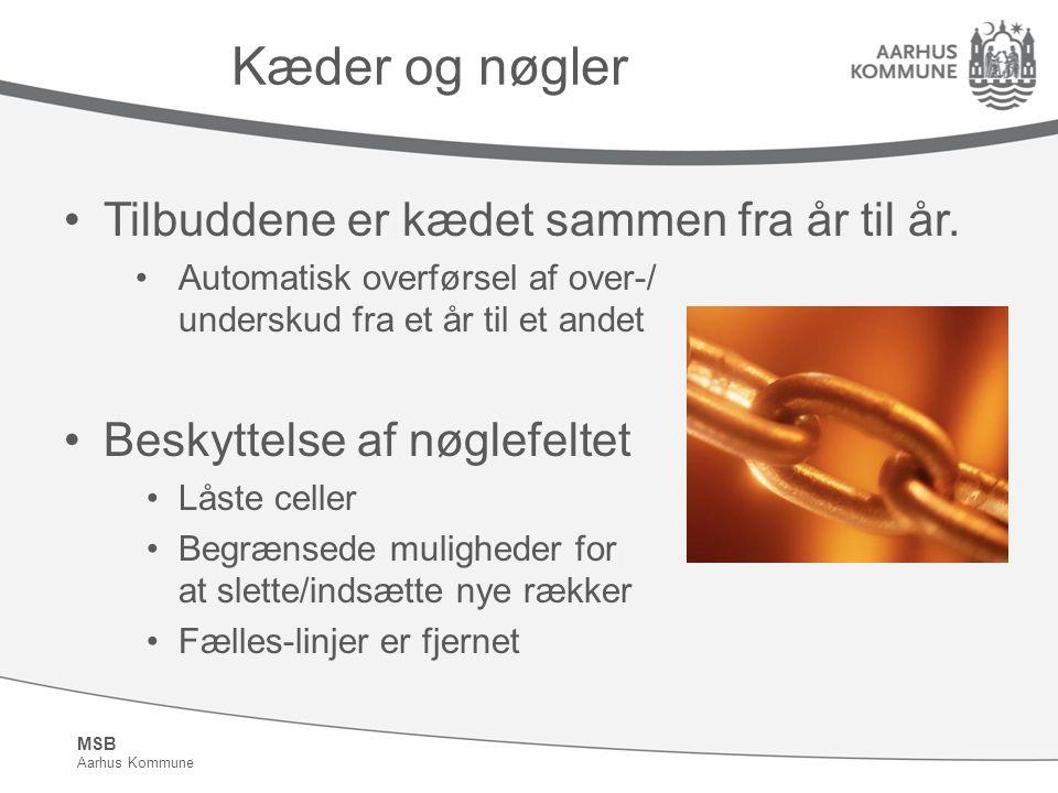 MSB Aarhus Kommune Kæder og nøgler Tilbuddene er kædet sammen fra år til år.