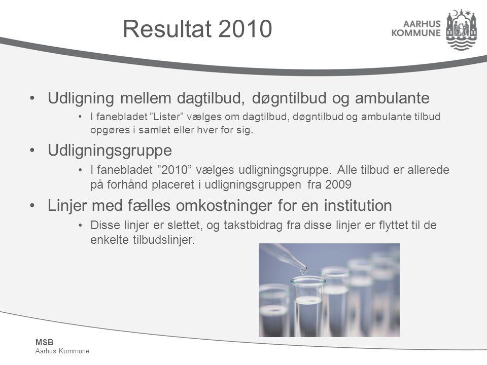 MSB Aarhus Kommune Resultat 2010 Udligning mellem dagtilbud, døgntilbud og ambulante I fanebladet Lister vælges om dagtilbud, døgntilbud og ambulante tilbud opgøres i samlet eller hver for sig.