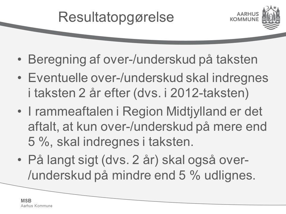 MSB Aarhus Kommune Resultatopgørelse Beregning af over-/underskud på taksten Eventuelle over-/underskud skal indregnes i taksten 2 år efter (dvs.
