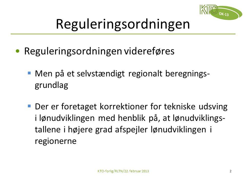 Reguleringsordningen Reguleringsordningen videreføres  Men på et selvstændigt regionalt beregnings- grundlag  Der er foretaget korrektioner for tekniske udsving i lønudviklingen med henblik på, at lønudviklings- tallene i højere grad afspejler lønudviklingen i regionerne KTO-forlig/RLTN/22.