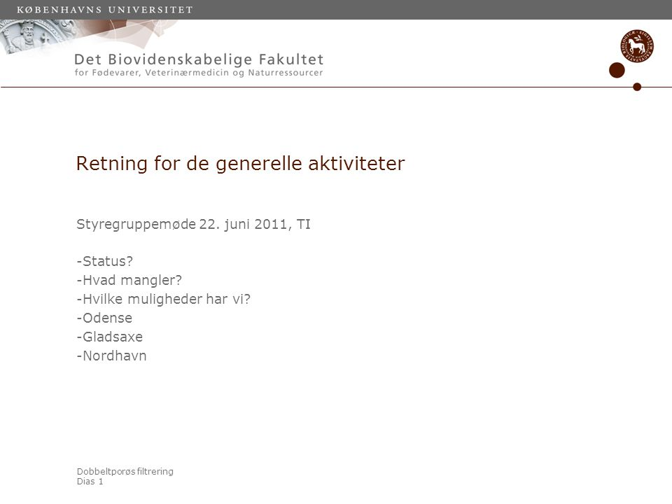 Dobbeltporøs filtrering Dias 1 Retning for de generelle aktiviteter Styregruppemøde 22.