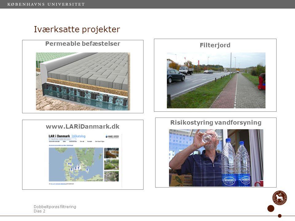 Dobbeltporøs filtrering Dias 2 Iværksatte projekter Permeable befæstelser Filterjord www.LARiDanmark.dk Risikostyring vandforsyning