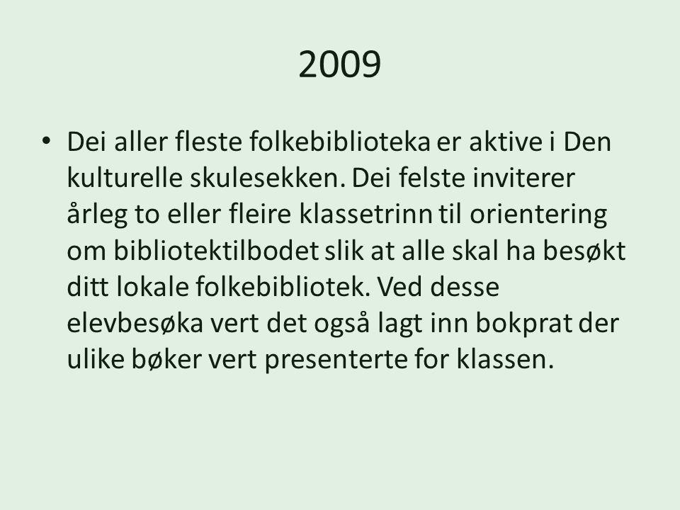 2009 Dei aller fleste folkebiblioteka er aktive i Den kulturelle skulesekken.