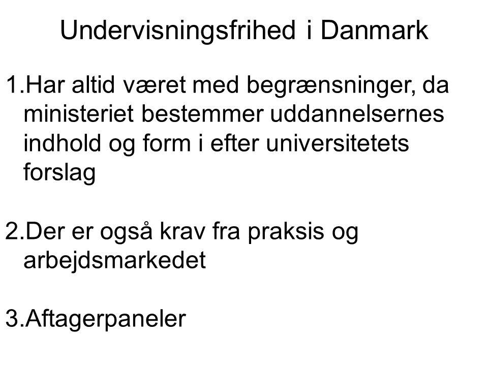 Undervisningsfrihed i Danmark 1.Har altid været med begrænsninger, da ministeriet bestemmer uddannelsernes indhold og form i efter universitetets forslag 2.Der er også krav fra praksis og arbejdsmarkedet 3.Aftagerpaneler