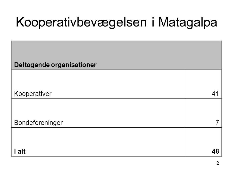 2 Kooperativbevægelsen i Matagalpa Deltagende organisationer Kooperativer41 Bondeforeninger7 I alt48