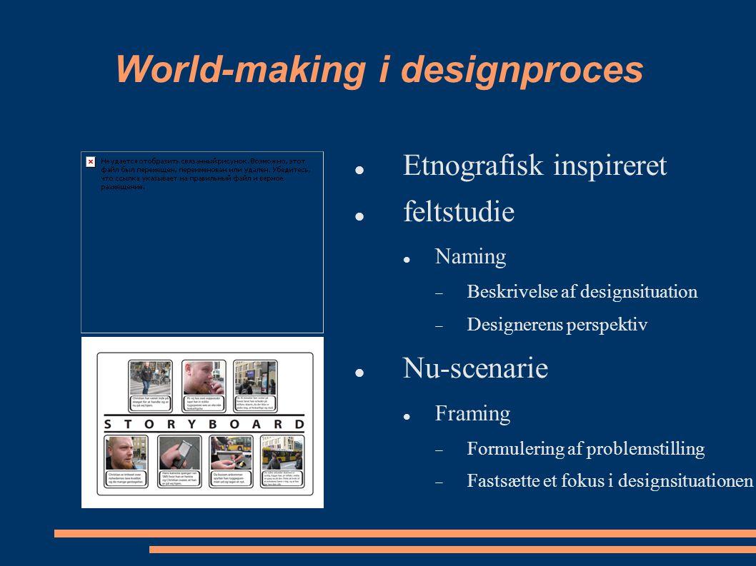 World-making i designproces Etnografisk inspireret feltstudie Naming  Beskrivelse af designsituation  Designerens perspektiv Nu-scenarie Framing  Formulering af problemstilling  Fastsætte et fokus i designsituationen