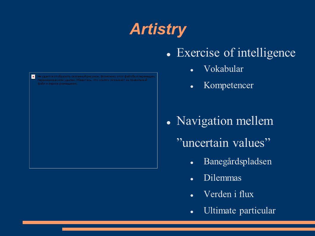 Artistry Exercise of intelligence Vokabular Kompetencer Navigation mellem uncertain values Banegårdspladsen Dilemmas Verden i flux Ultimate particular