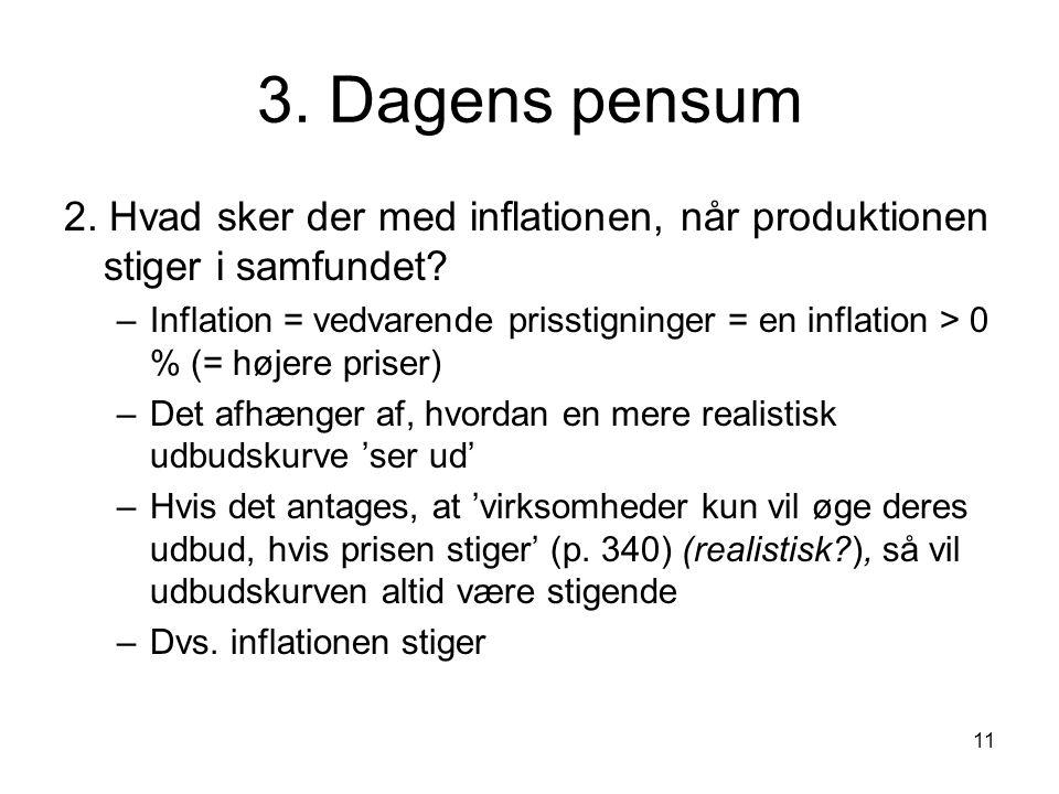 11 3. Dagens pensum 2. Hvad sker der med inflationen, når produktionen stiger i samfundet.