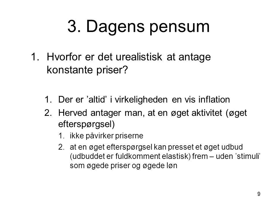 9 3. Dagens pensum 1.Hvorfor er det urealistisk at antage konstante priser.