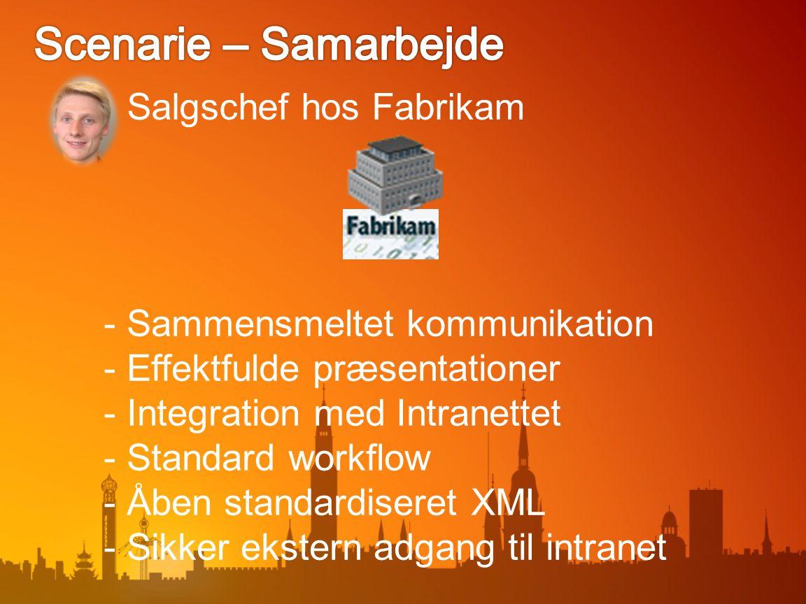 Salgschef hos Fabrikam - Sammensmeltet kommunikation - Effektfulde præsentationer - Integration med Intranettet - Standard workflow - Åben standardiseret XML - Sikker ekstern adgang til intranet