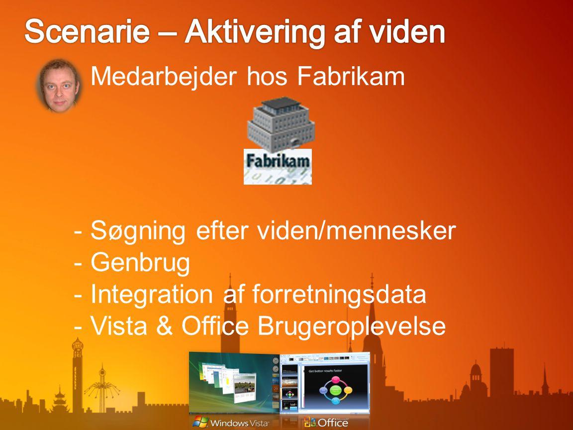 Medarbejder hos Fabrikam - Søgning efter viden/mennesker - Genbrug - Integration af forretningsdata - Vista & Office Brugeroplevelse