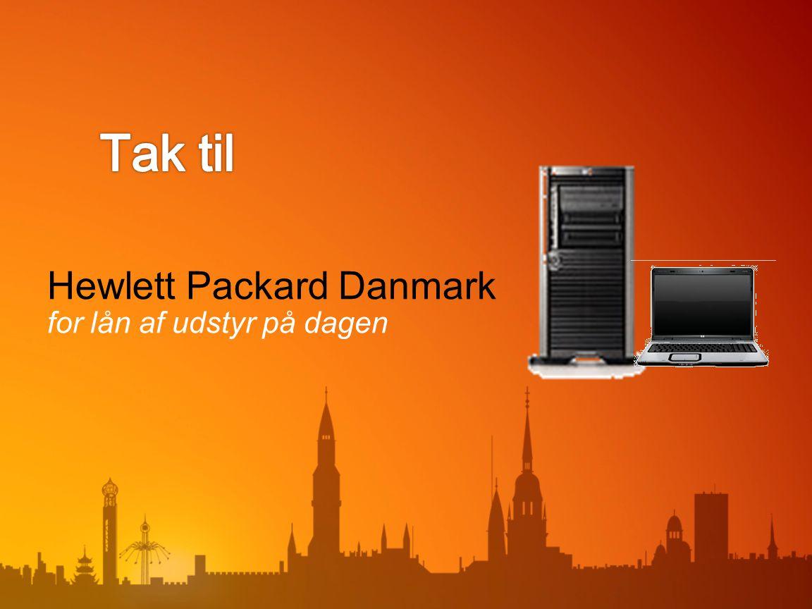 Hewlett Packard Danmark for lån af udstyr på dagen