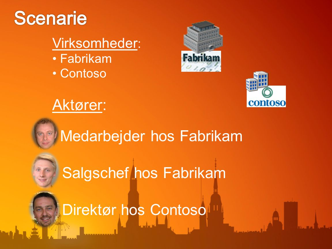 Virksomheder : Fabrikam Contoso Aktører: Medarbejder hos Fabrikam Salgschef hos Fabrikam Direktør hos Contoso