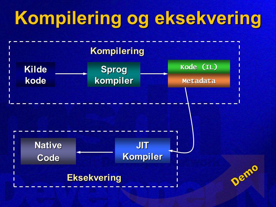 Assembly Kompilering og eksekvering Kilde kode Sprog kompiler Kompilering Eksekvering JIT Kompiler NativeCode Kode (IL) Metadata