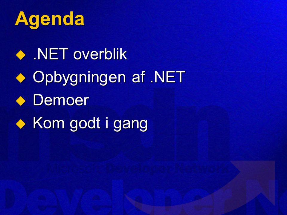 Agenda .NET overblik  Opbygningen af.NET  Demoer  Kom godt i gang