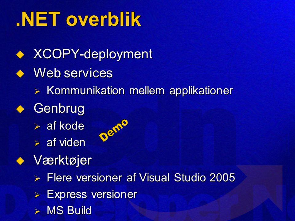 .NET overblik  XCOPY-deployment  Web services  Kommunikation mellem applikationer  Genbrug  af kode  af viden  Værktøjer  Flere versioner af Visual Studio 2005  Express versioner  MS Build