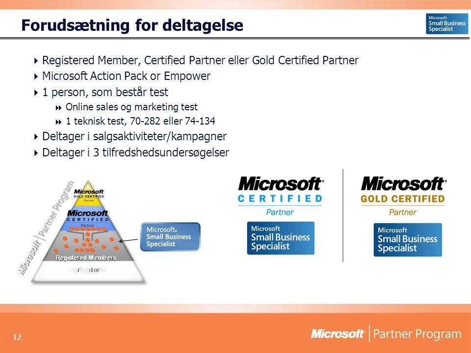 12 Forudsætning for deltagelse  Registered Member, Certified Partner eller Gold Certified Partner  Microsoft Action Pack or Empower  1 person, som består test  Online sales og marketing test  1 teknisk test, 70-282 eller 74-134  Deltager i salgsaktiviteter/kampagner  Deltager i 3 tilfredshedsundersøgelser