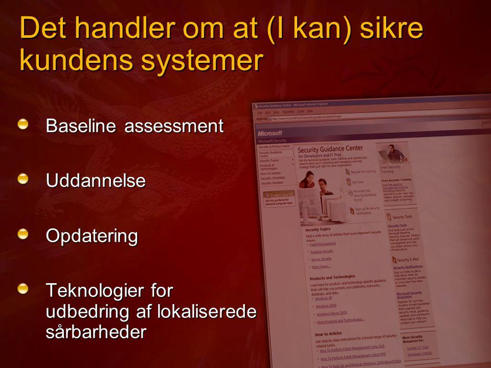 Det handler om at (I kan) sikre kundens systemer Baseline assessment UddannelseOpdatering Teknologier for udbedring af lokaliserede sårbarheder