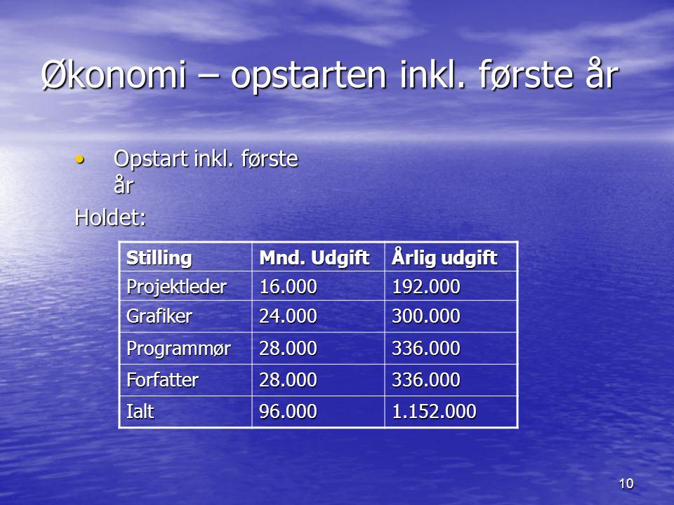 10 Økonomi – opstarten inkl. første år Opstart inkl.