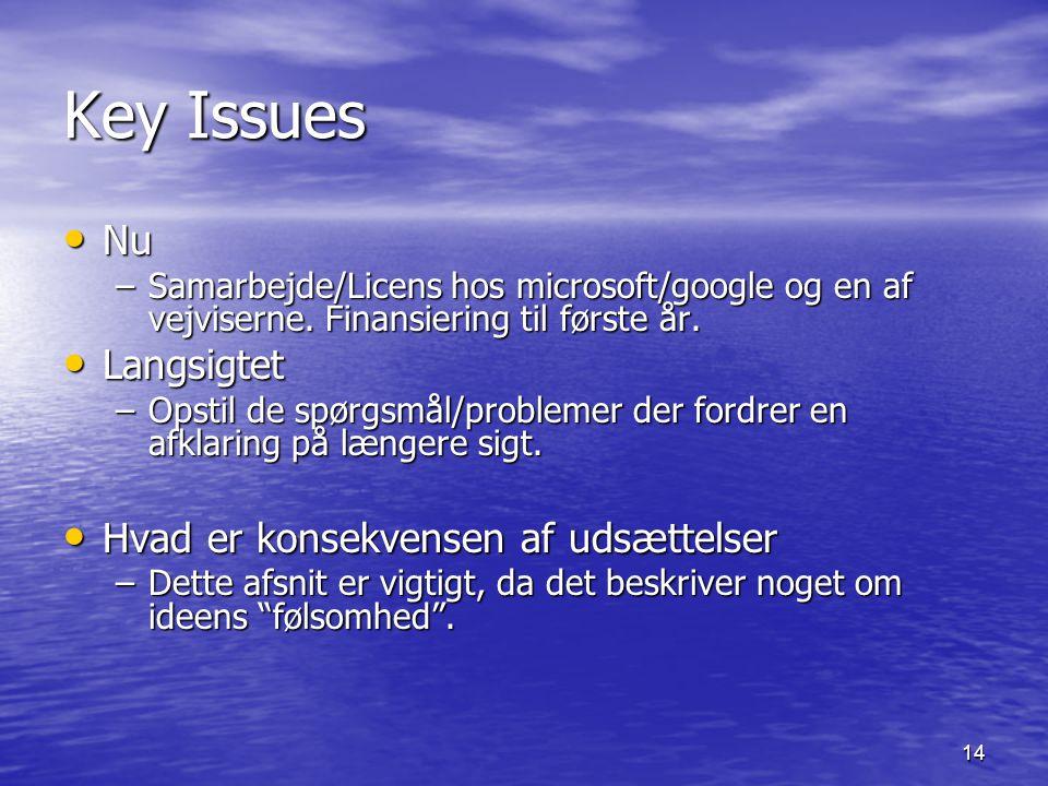 14 Key Issues Nu Nu –Samarbejde/Licens hos microsoft/google og en af vejviserne.