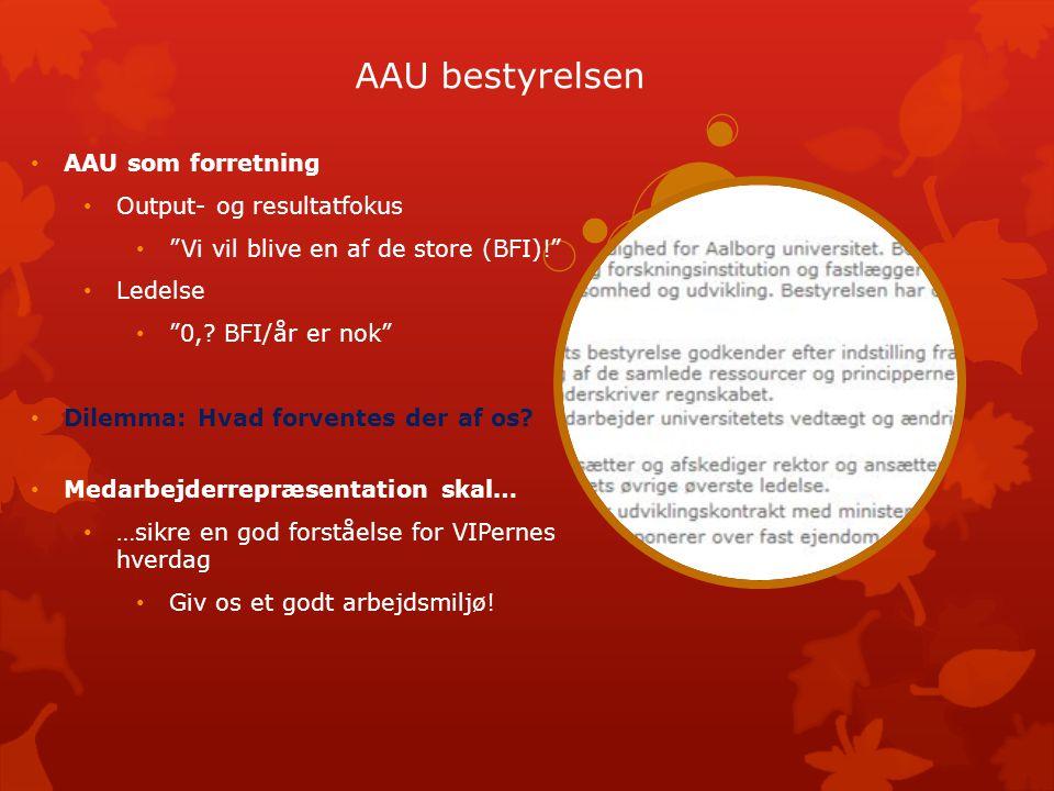 AAU bestyrelsen AAU som forretning Output- og resultatfokus Vi vil blive en af de store (BFI)! Ledelse 0,.