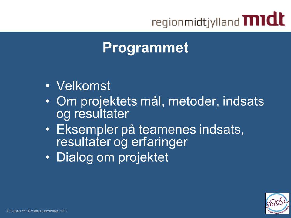 © Center for Kvalitetsudvikling 2007 Programmet Velkomst Om projektets mål, metoder, indsats og resultater Eksempler på teamenes indsats, resultater og erfaringer Dialog om projektet