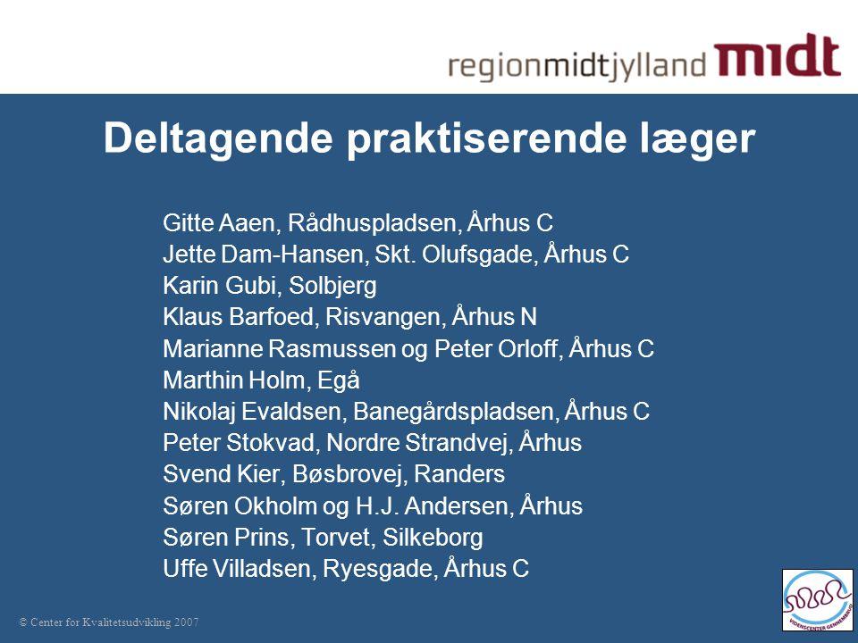 © Center for Kvalitetsudvikling 2007 Deltagende praktiserende læger Gitte Aaen, Rådhuspladsen, Århus C Jette Dam-Hansen, Skt.