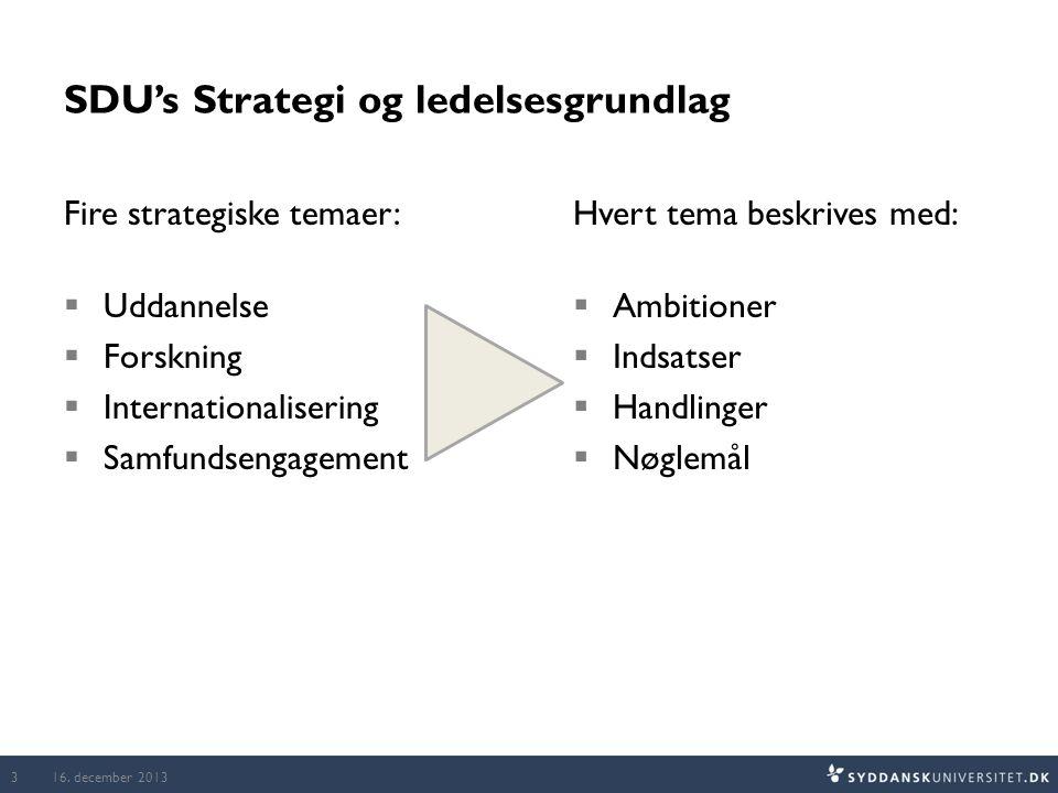 SDU's Strategi og ledelsesgrundlag Fire strategiske temaer:  Uddannelse  Forskning  Internationalisering  Samfundsengagement Hvert tema beskrives med:  Ambitioner  Indsatser  Handlinger  Nøglemål 16.