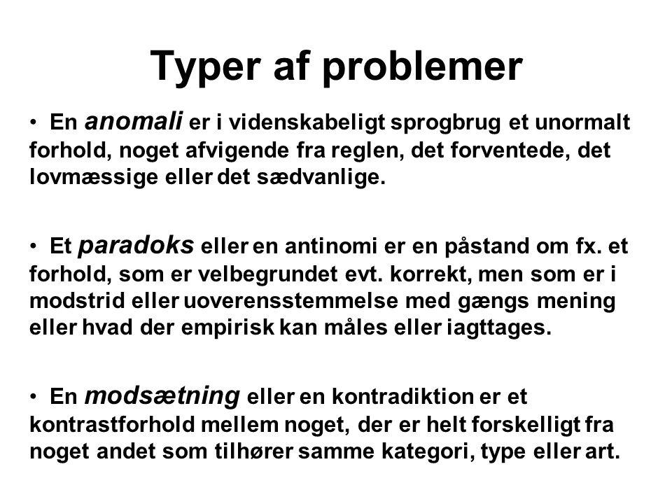 Teoretiske problemer Et teoretisk problem kan (…) siges at være et problem i forhold til vores viden eller teorier om verden.