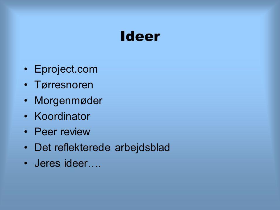 Ideer Eproject.com Tørresnoren Morgenmøder Koordinator Peer review Det reflekterede arbejdsblad Jeres ideer….