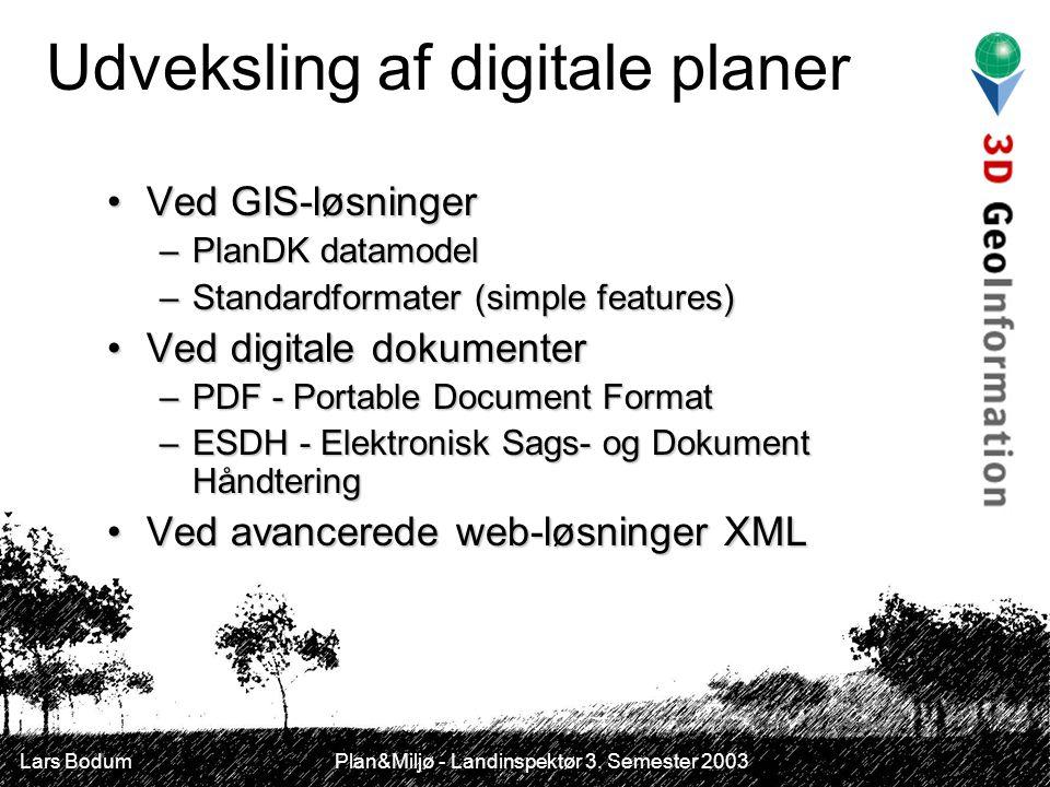 Udveksling af digitale planer Ved GIS-løsningerVed GIS-løsninger –PlanDK datamodel –Standardformater (simple features) Ved digitale dokumenterVed digitale dokumenter –PDF - Portable Document Format –ESDH - Elektronisk Sags- og Dokument Håndtering Ved avancerede web-løsninger XMLVed avancerede web-løsninger XML