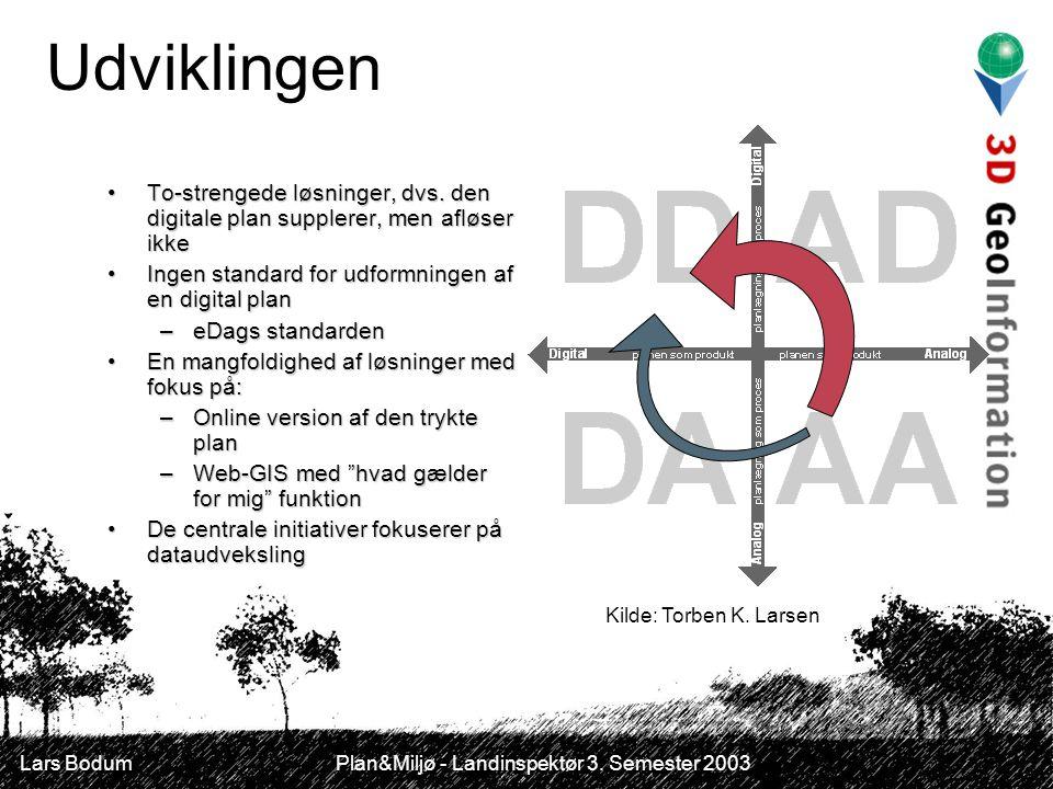 Lars Bodum Plan&Miljø - Landinspektør 3. Semester 2003 Udviklingen To-strengede løsninger, dvs.