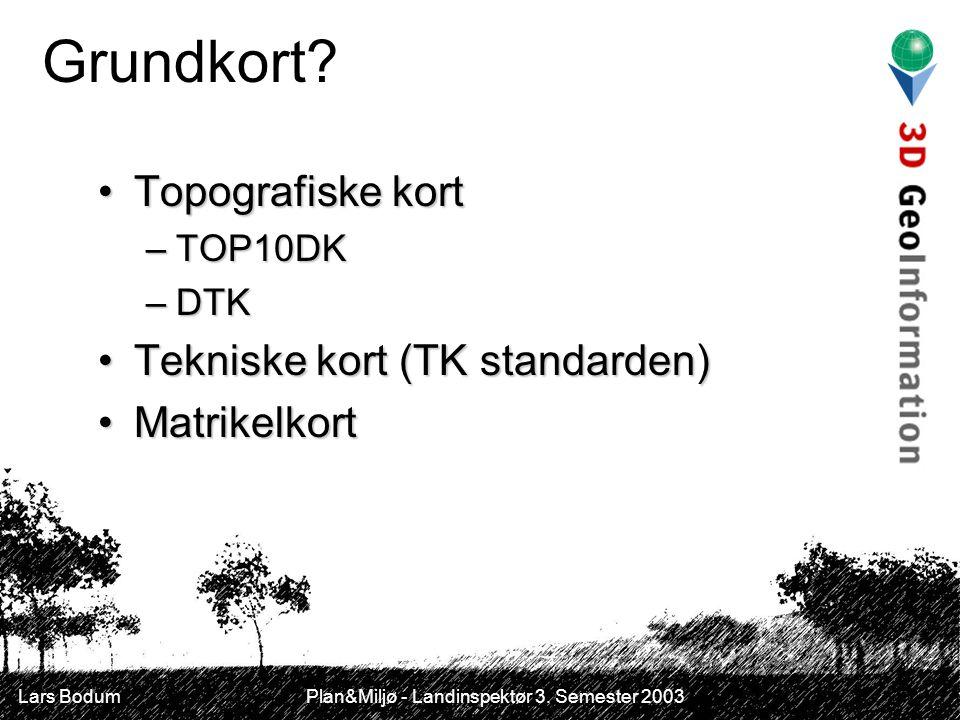 Lars Bodum Plan&Miljø - Landinspektør 3. Semester 2003 Grundkort.
