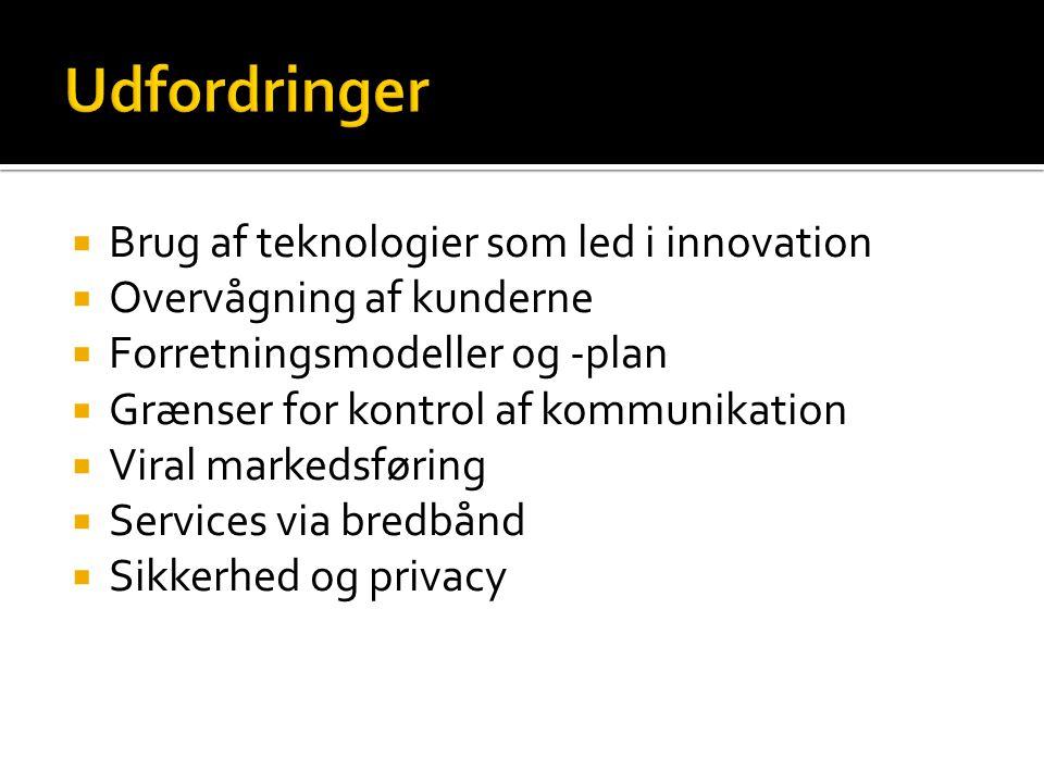  Brug af teknologier som led i innovation  Overvågning af kunderne  Forretningsmodeller og -plan  Grænser for kontrol af kommunikation  Viral markedsføring  Services via bredbånd  Sikkerhed og privacy