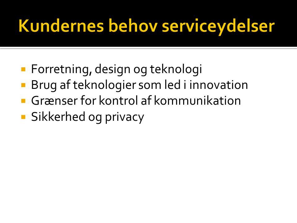  Forretning, design og teknologi  Brug af teknologier som led i innovation  Grænser for kontrol af kommunikation  Sikkerhed og privacy