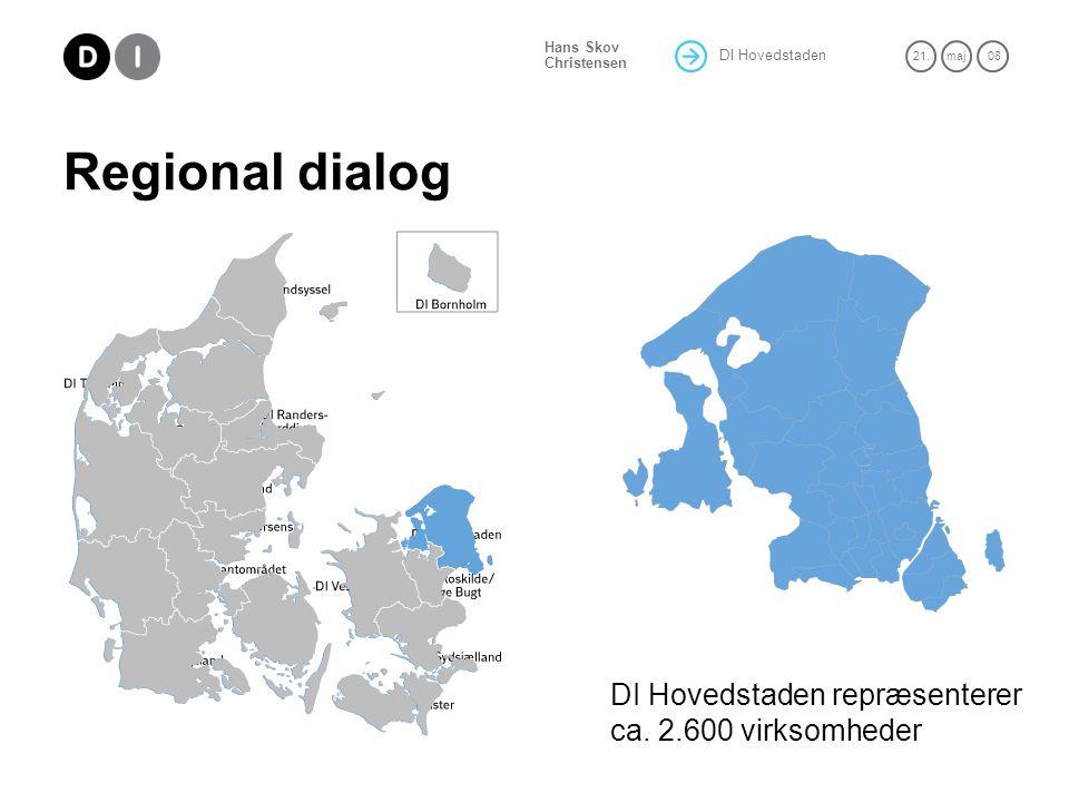 DI Hovedstaden 21.maj 08 Hans Skov Christensen Regional dialog DI Hovedstaden repræsenterer ca.