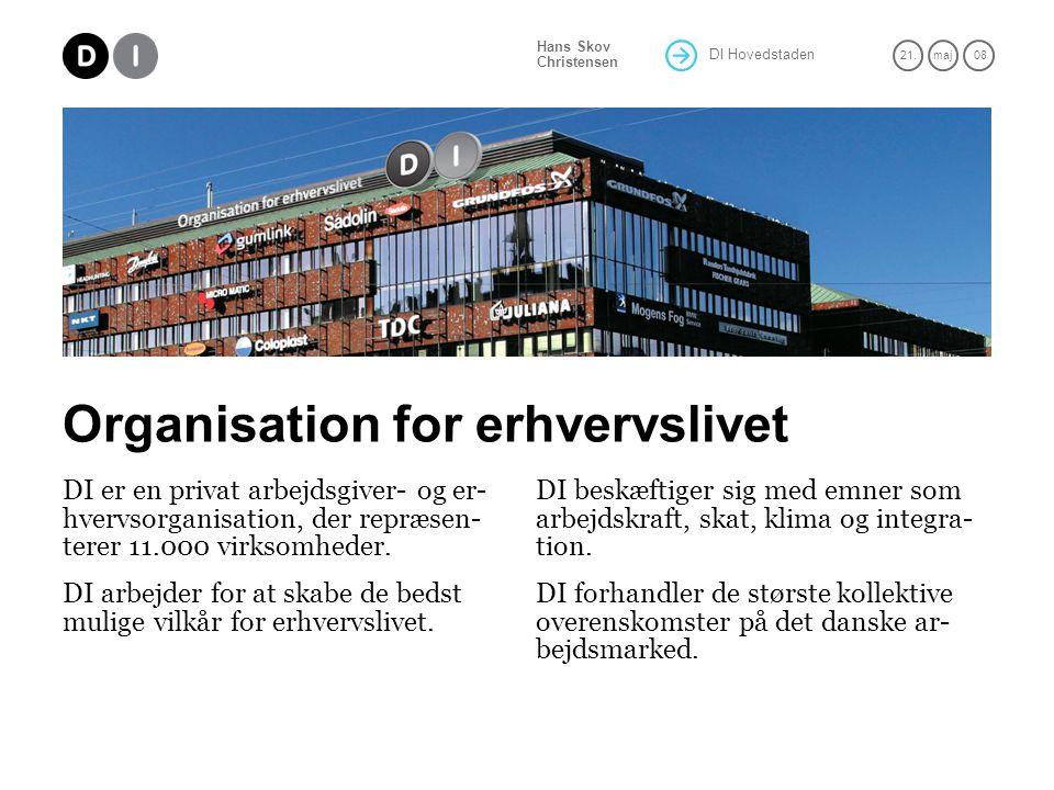DI Hovedstaden 21.maj 08 Hans Skov Christensen Organisation for erhvervslivet DI er en privat arbejdsgiver- og er- hvervsorganisation, der repræsen- terer 11.000 virksomheder.