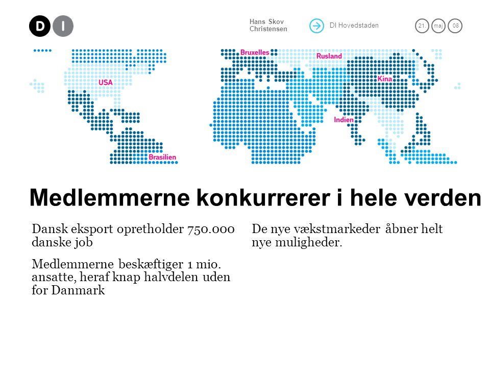 DI Hovedstaden 21.maj 08 Hans Skov Christensen Medlemmerne konkurrerer i hele verden Dansk eksport opretholder 750.000 danske job Medlemmerne beskæftiger 1 mio.