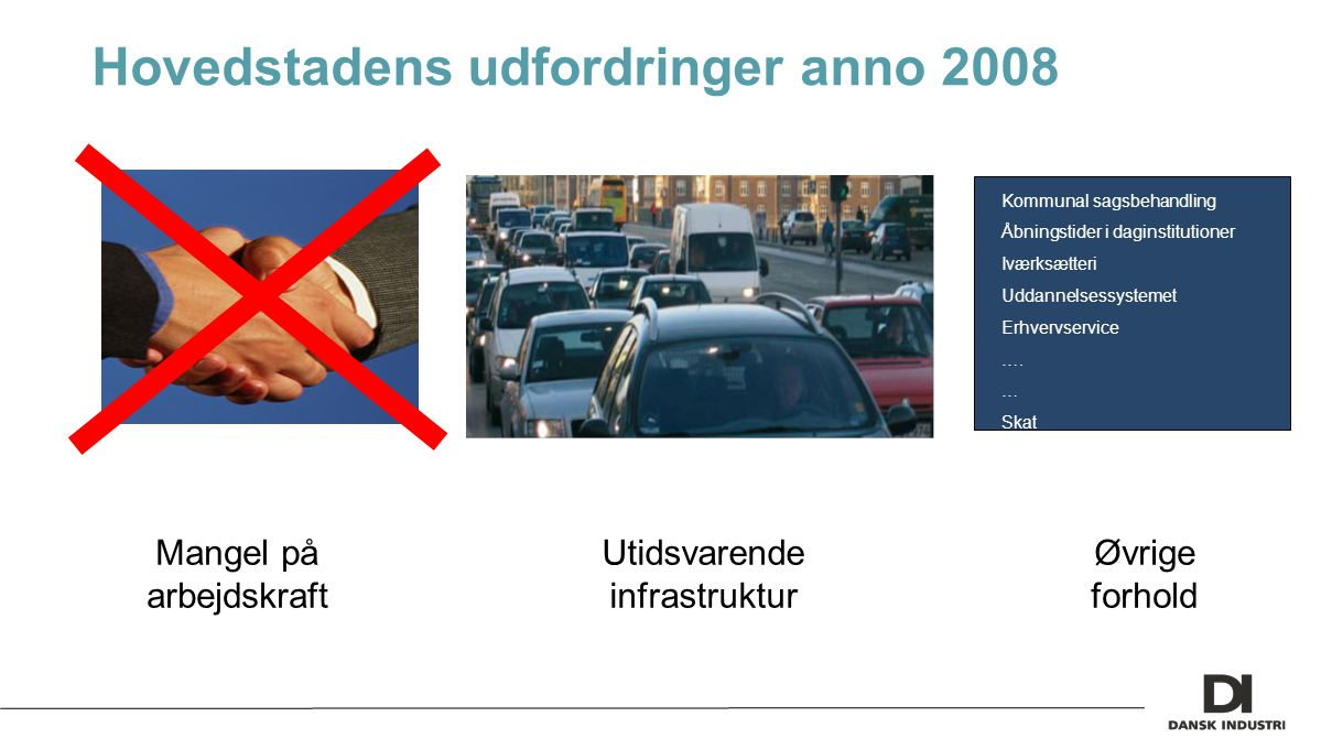 Hovedstadens udfordringer anno 2008 Mangel på arbejdskraft Utidsvarende infrastruktur Øvrige forhold Kommunal sagsbehandling Åbningstider i daginstitutioner Iværksætteri Uddannelsessystemet Erhvervservice ….