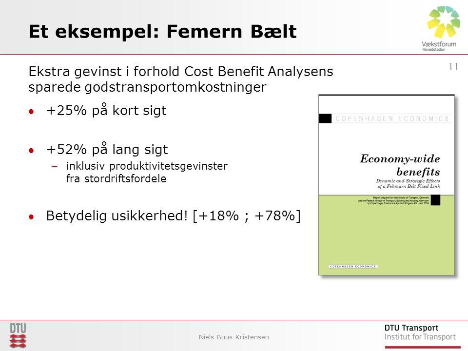 Et eksempel: Femern Bælt Ekstra gevinst i forhold Cost Benefit Analysens sparede godstransportomkostninger +25% på kort sigt +52% på lang sigt – inklusiv produktivitetsgevinster fra stordriftsfordele Betydelig usikkerhed.