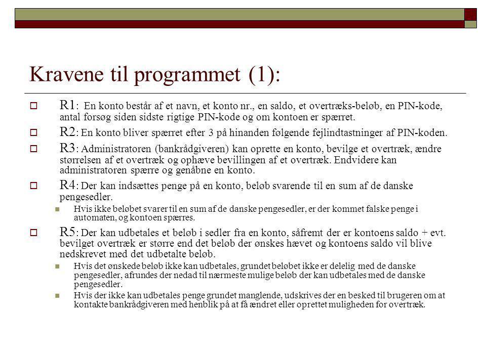 Kravene til programmet (1):  R1 : En konto består af et navn, et konto nr., en saldo, et overtræks-beløb, en PIN-kode, antal forsøg siden sidste rigtige PIN-kode og om kontoen er spærret.