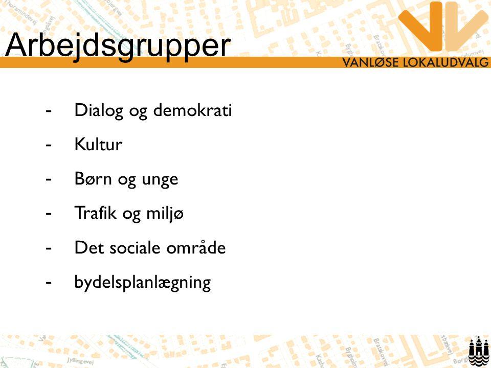 Arbejdsgrupper - Dialog og demokrati - Kultur - Børn og unge - Trafik og miljø - Det sociale område - bydelsplanlægning