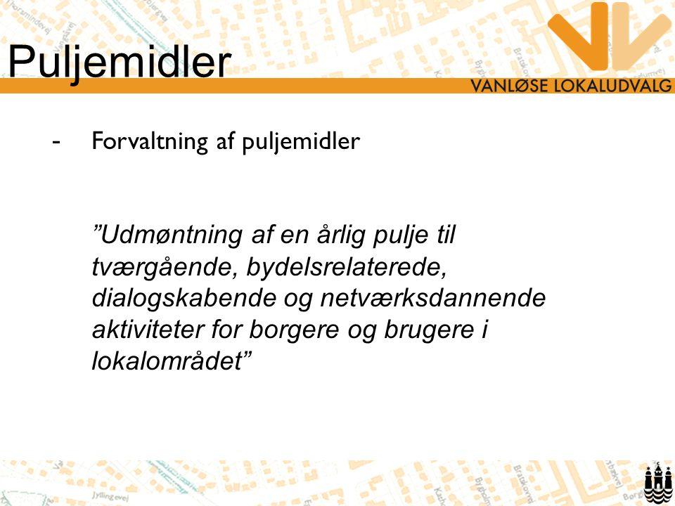Puljemidler - Forvaltning af puljemidler Udmøntning af en årlig pulje til tværgående, bydelsrelaterede, dialogskabende og netværksdannende aktiviteter for borgere og brugere i lokalområdet