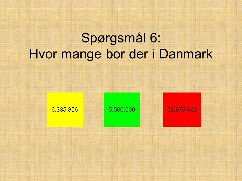 Spørgsmål 6: Hvor mange bor der i Danmark 6.335.3565.500.00056.875.663
