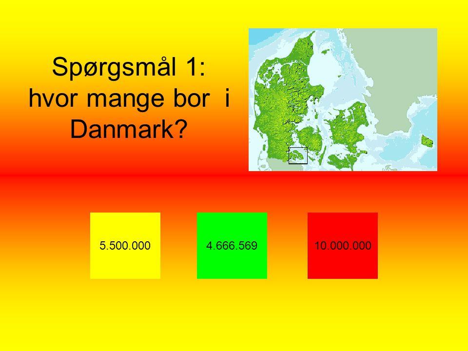 Spørgsmål 1: hvor mange bor i Danmark 5.500.0004.666.56910.000.000