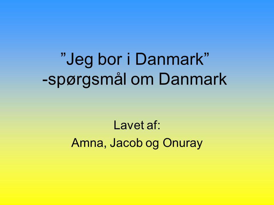 Jeg bor i Danmark -spørgsmål om Danmark Lavet af: Amna, Jacob og Onuray