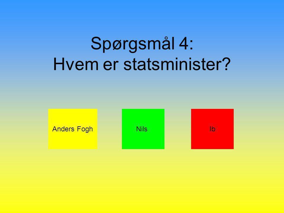 Spørgsmål 4: Hvem er statsminister Anders FoghNilsIb