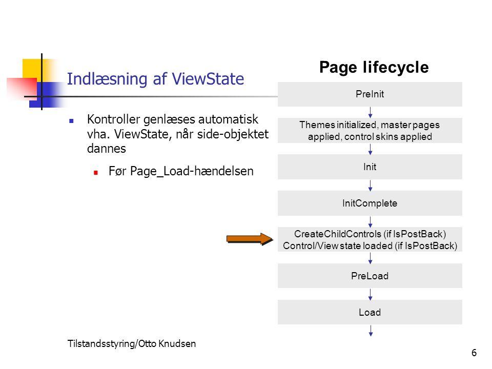 Tilstandsstyring/Otto Knudsen 6 Indlæsning af ViewState Kontroller genlæses automatisk vha.