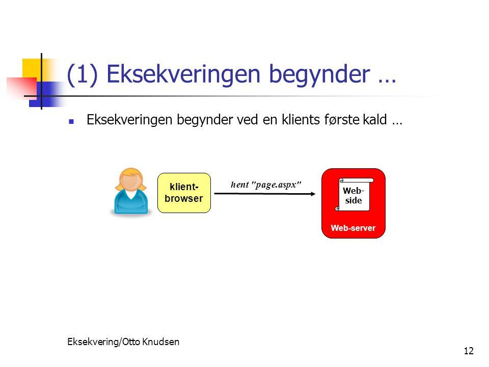 Eksekvering/Otto Knudsen 12 (1) Eksekveringen begynder … Eksekveringen begynder ved en klients første kald … Web-server klient- browser hent page.aspx Web- side